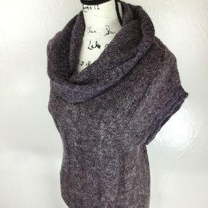XTAREN Women's Dark Purple Knit Cowl Neck Sweater